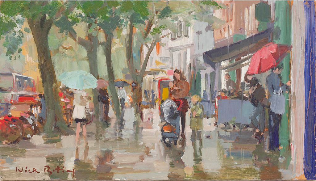Shoppers in the rain (SOLD)
