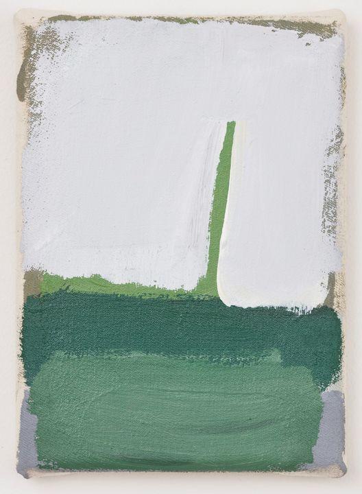 Slacker, acrylic on unprimed canvas, 18 x 13cm, 2019
