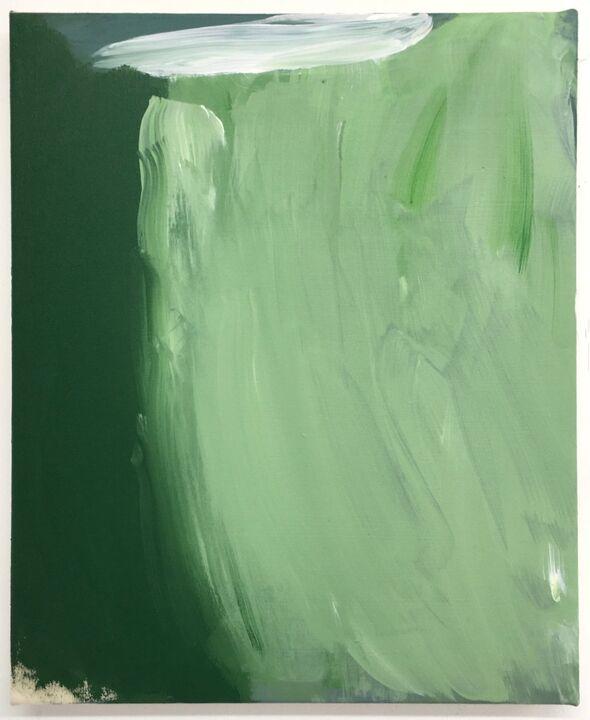 Ten Pound Island, acrylic on unprimed canvs, 36 x 46cm, 2020