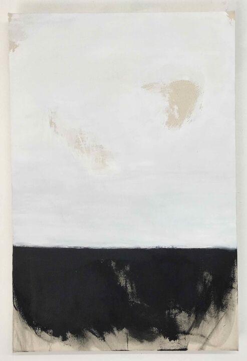 Guise, acrylic on unprimed canvas, 76 x 51cm, 2020
