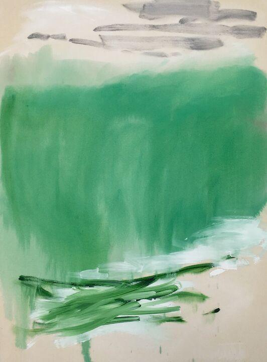 Footfall, acrylic on unprimed canvas, 100 x 75cm, 2020