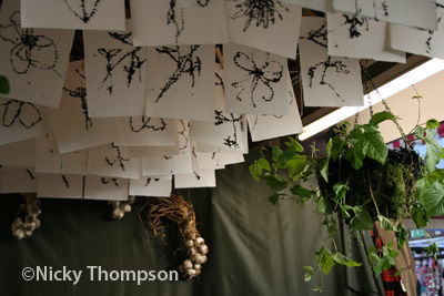 honey drawings hanging in stall