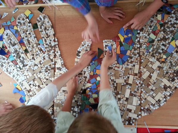 Mosaic Hands in progress