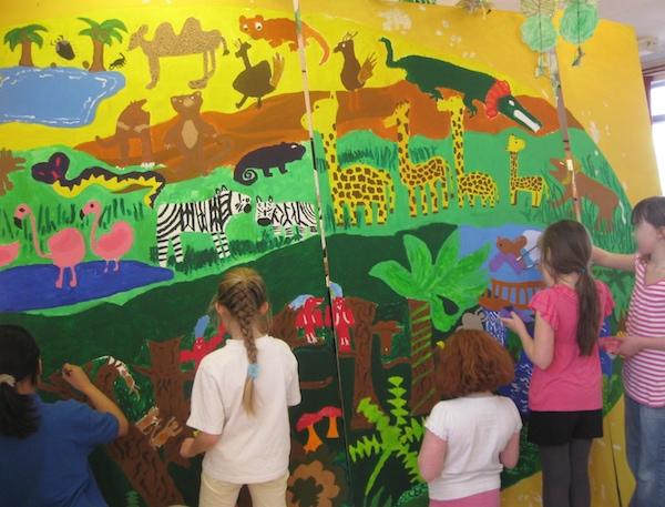 One World mural in progress
