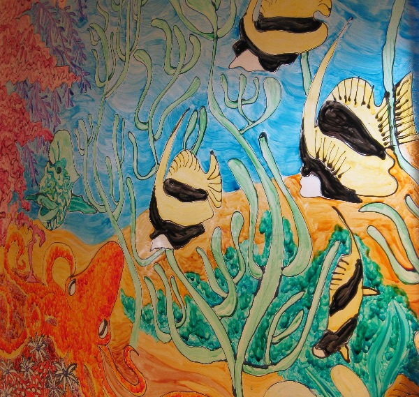 Under The Sea glass painting detail