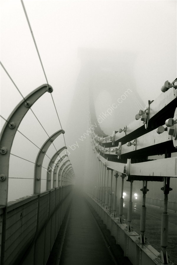 suspended in fog