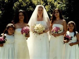Sunlit bride and bridesmaids