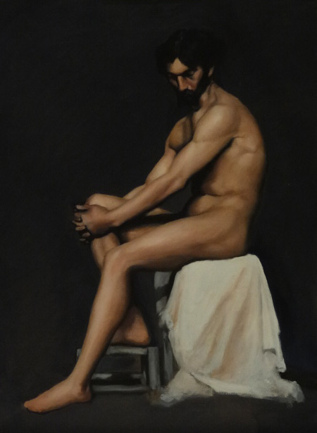 Study of a Nude Male, Copy after Edelfelt