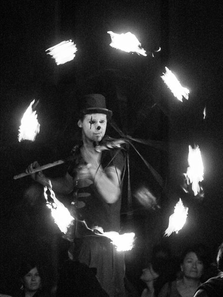 Clown with fire