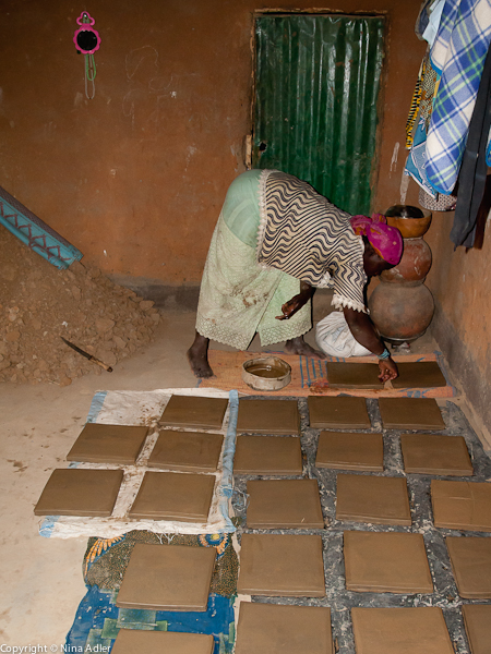 Tiles laid out for drying