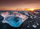 Sunset on Jokulsarlon black beach in Iceland