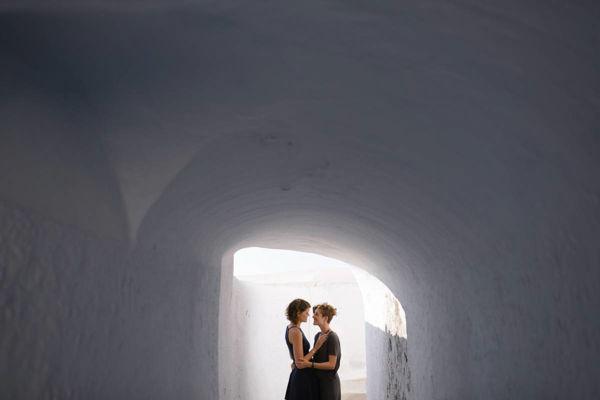 same sex photo session in santorini greece