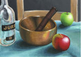 Wellbeing Still Life: Ohm Singing Bowl with Whisky Bottle and Apples (2012)