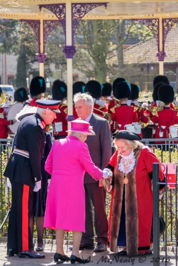Her Majesty the Queen and The Mayor, Cllr Eileen Quick at The Queen's 90th birthday celebrations