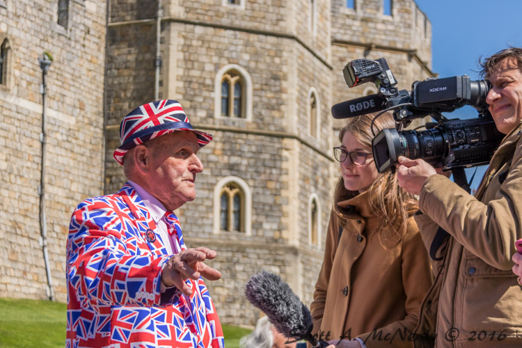 Queen's 90th birthday-Terry Hutt being interviewed for TV