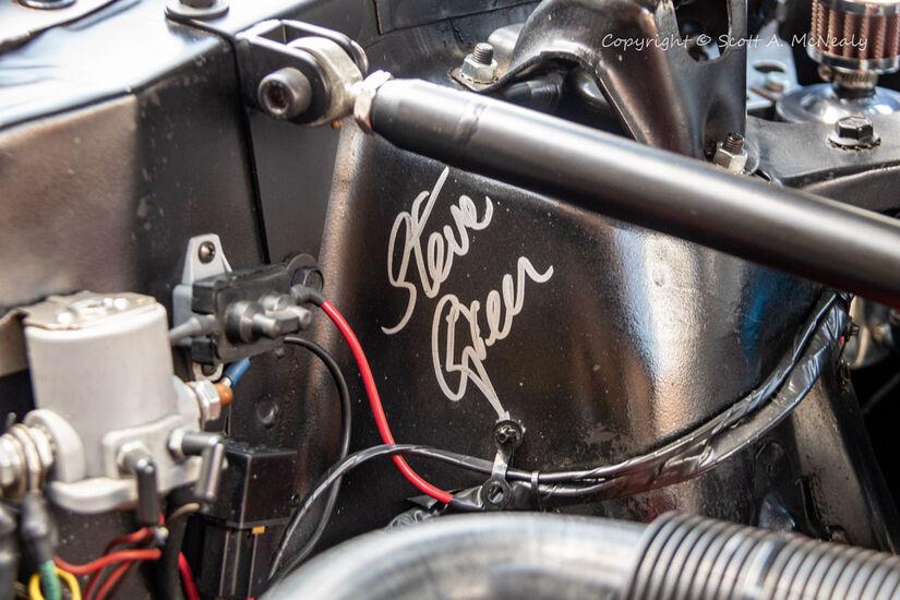 1966 Mustang 302-engine bay Steve Green signature