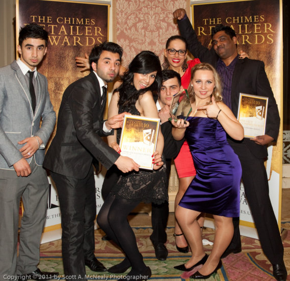 Winner of Excellence and Commended Customer Service Award at The Chimes Retailer Award Ceremony 2011