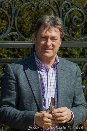 Cliveden Maze Opening-Alan Titchmarsh with secateurs