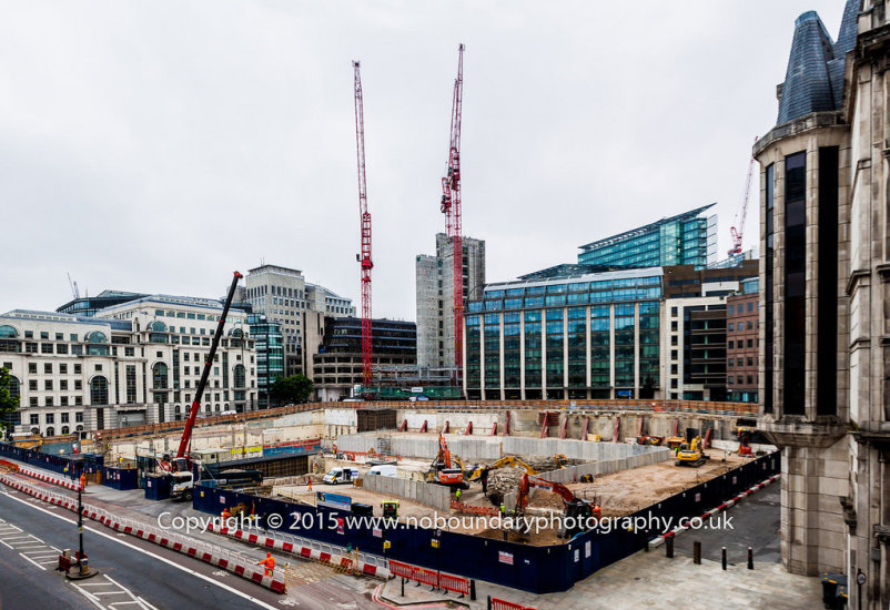 Farringdon Street Construction site as seen from A40 Holburn Viaduct 2015