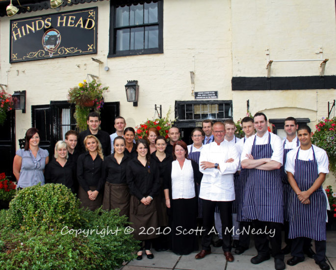 Heston Blumenthal and team winning Michelin's Pub of the Year 2011 at The Hinds Head in Bray-Published in Berkshire Life Magazine