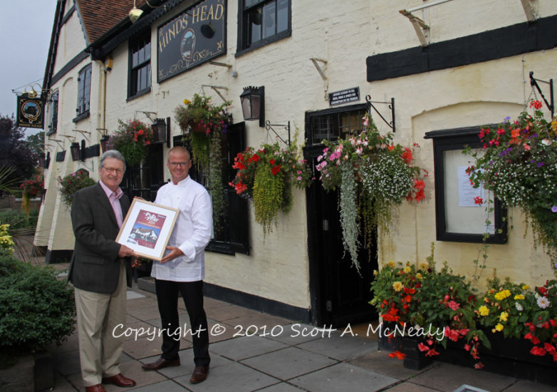 Heston Blumenthal winning Michelin's Pub of the Year 2011 at The Hinds Head in Bray from Derek Bulmer-Published in Berkshire Life Magazine