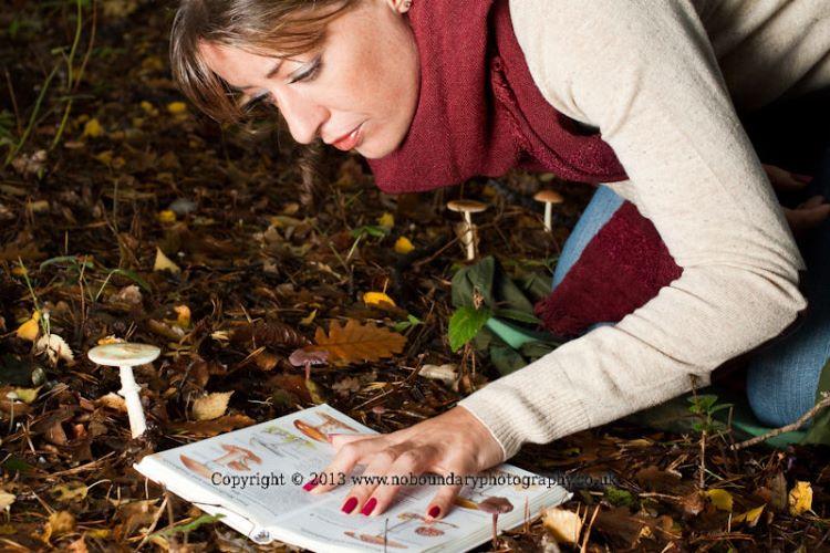 Woman identifying at 5 species of fungi at Burnham Beeches