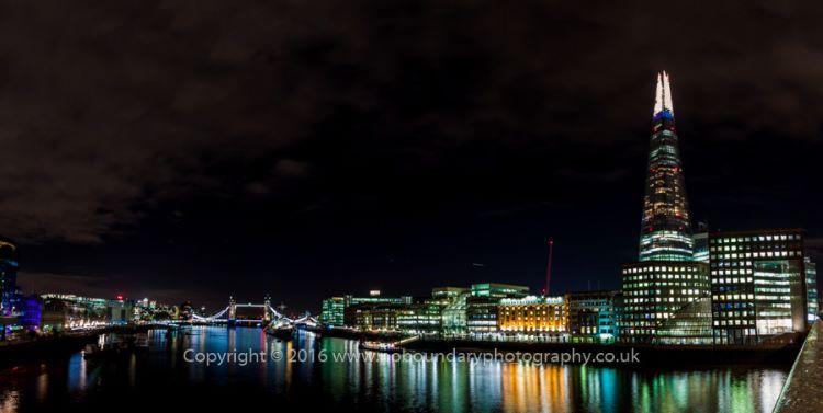 London Bridge View Panoramic at night-