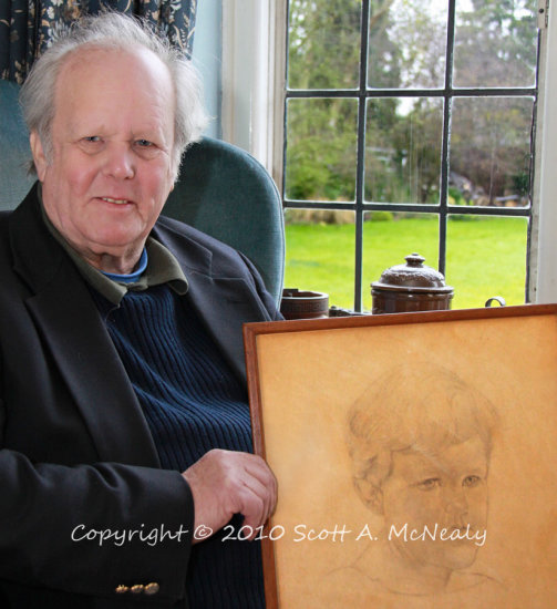 Mr David Ricardo with Stanley Spencer sketch with setting visible behind for People Who Knew Stanley Spencer