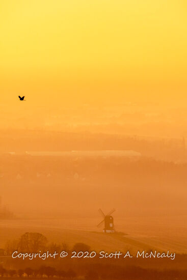 Pitstone Windmill at sunset from The Ridgeway near Ivinghoe Beacon