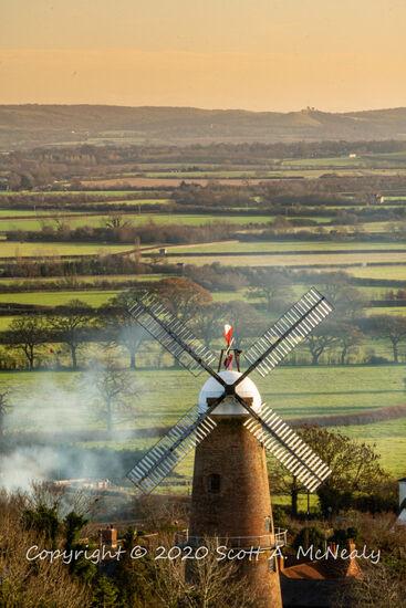 Quainton Windmill from Simber Hill sunset