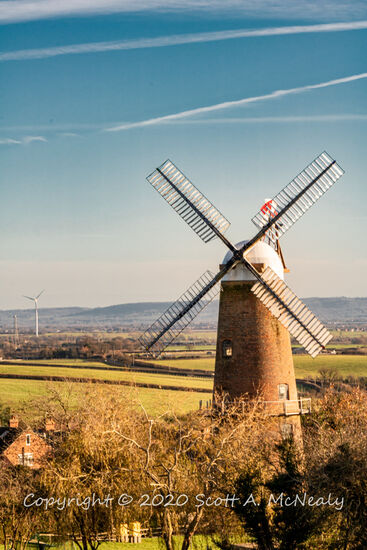 Quainton Windmill from Simber Hill with Aylesbury WInd Turbine-0226