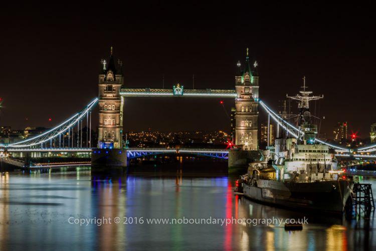 Tower Bridge and HMS Belfast night