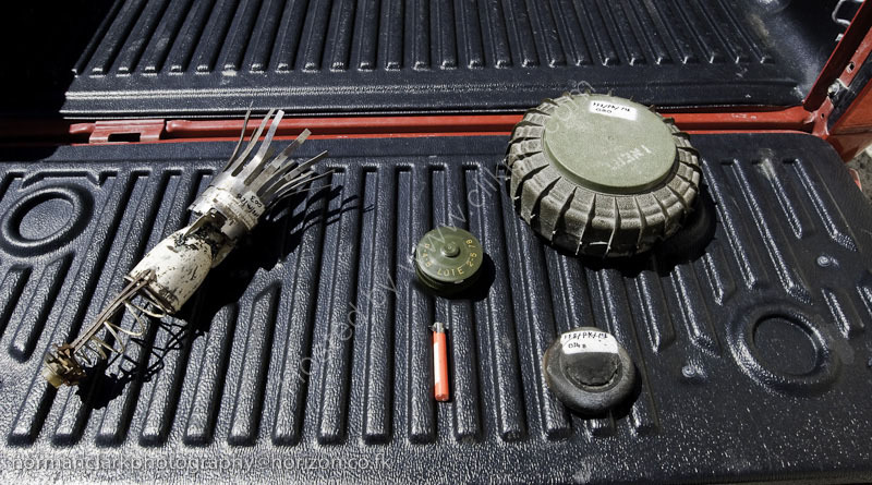 BACTEC-4254 The different types of Mines to be cleared,along with  Cluster Bombs (L)
