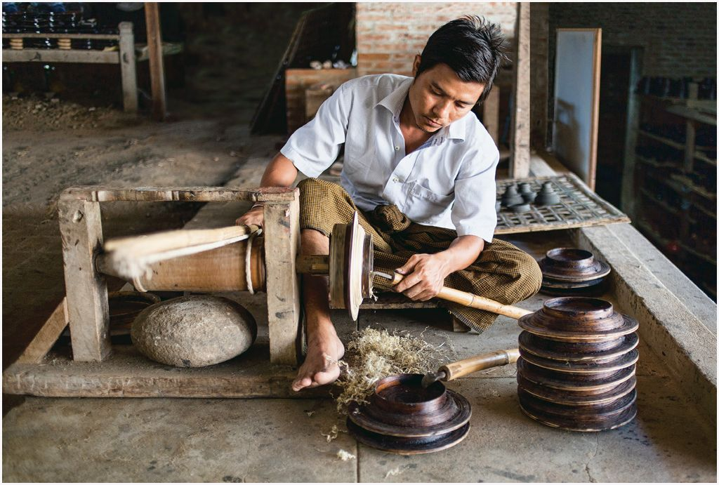 Lacquer ware worker Myanmar