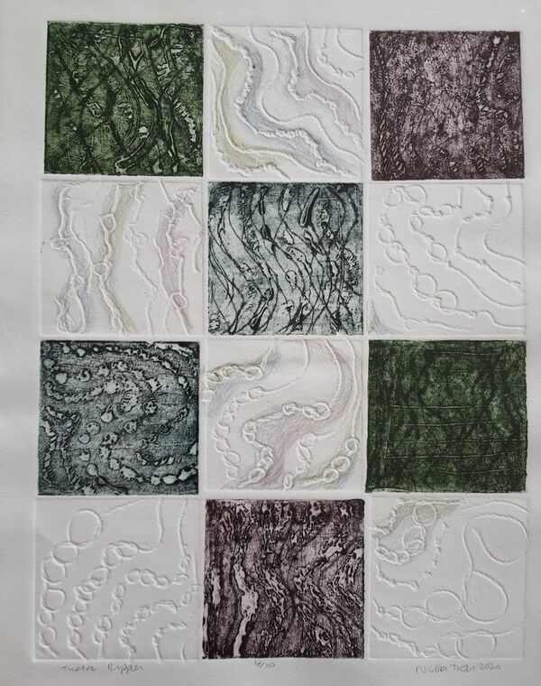 twelve squares each containing and abstract image of water ripples. Some are coloured others are white with coloured pencil