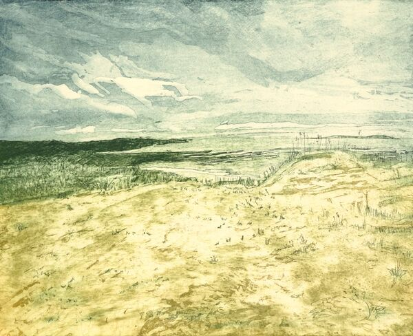 Seascape with sand dunes in the foreground and headands in the background