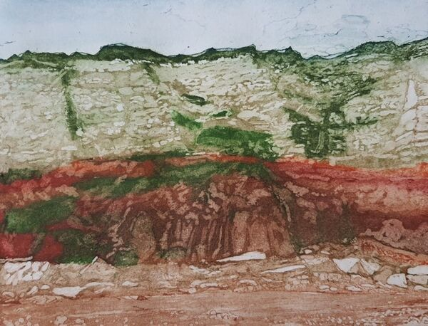 red and white cliffs with green vegetation and red sand