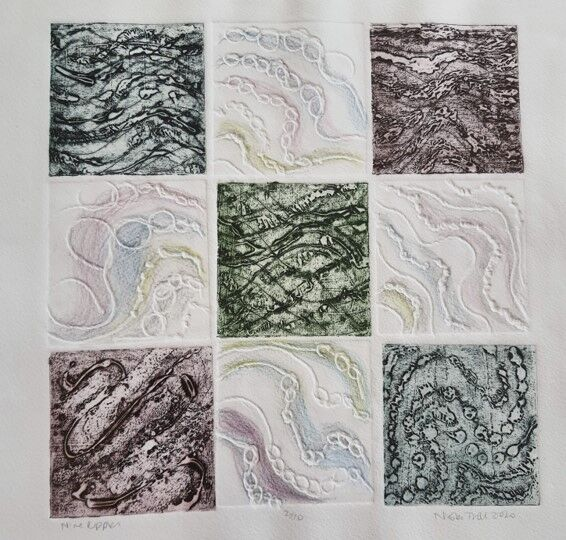Nine squares arranged in a square each containing ripple abstracts. Some are full colour others are white with coloured pencil