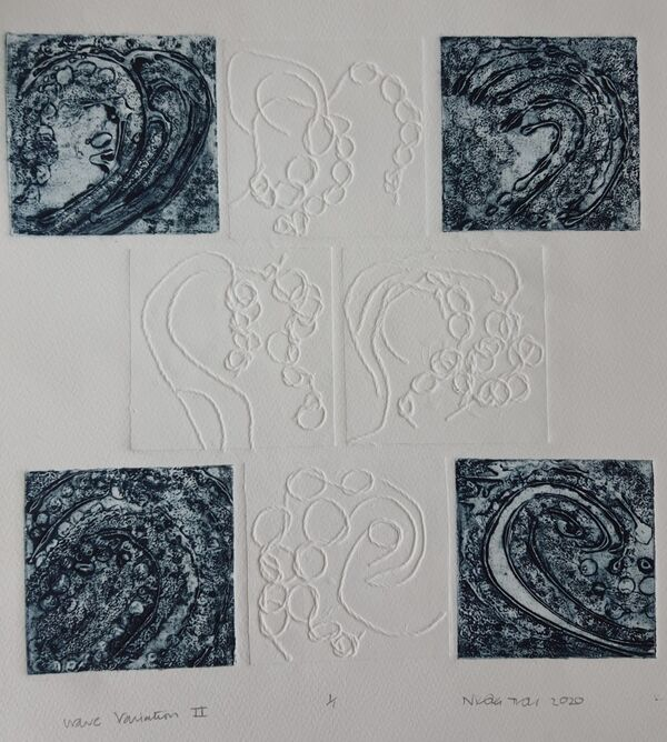 Eight squares, four are an inky blue 4 white on white each showing an abstract of a wave.
