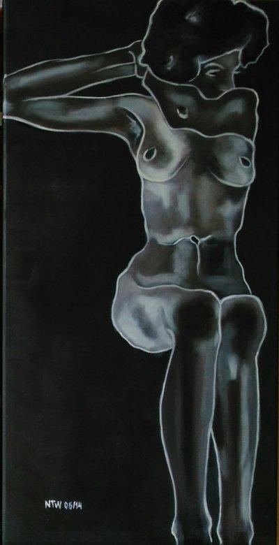 Sitting Nude, Yin - hommage to Egon Schiele