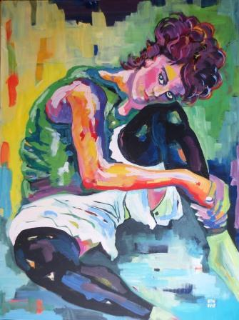 Seated woman with bent knee - hommage to Egon Schiele