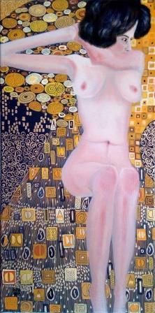 Sitting nude á la Klimt´s Adele Bloch-Bauer - Hommage to Egon Schiele