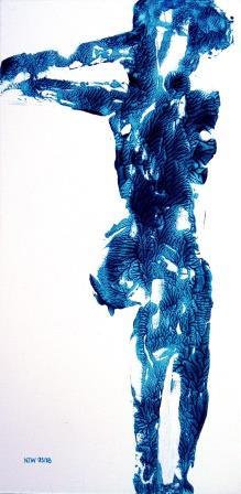 Sitting nude - á la Yves Klein - Hommage to Egon Schiele