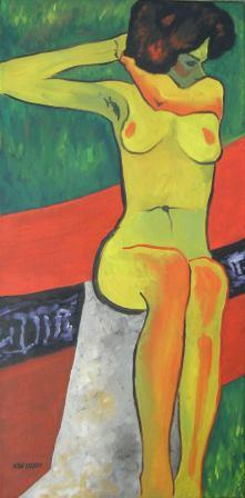 Sitting Nude, Expressionism - hommage to Egon Schiele