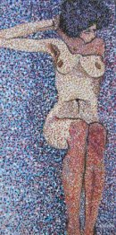 Sitting Nude, Pointilism - hommage to Egon Schiele