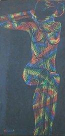 Sitting Nude, Scraffage - hommage to Egon Schiele