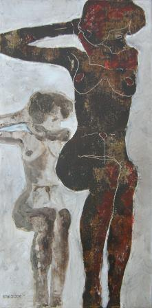 Sitting Nude, rusty style - hommage to Egon Schiele