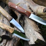 A range of my Scandi grind knives in different woods.