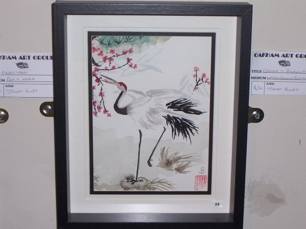 Crane and blossom