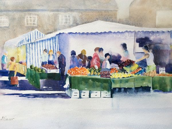JULY 2020 - Oakham Market, watercolour by Theresa Dewar